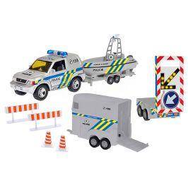 Mikro hračky Policejní auto 13cm s přívěsem+2 vozíky - rozbaleno