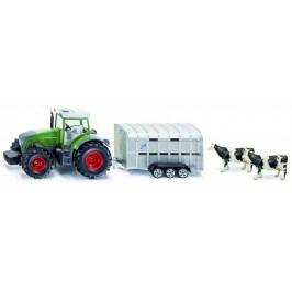 SIKU Super - Traktor John Deere s přívěsem pro přepravu dobytka vč. 2 krav, 1:50