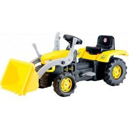 Velký šlapací traktor s rypadlem - žlutý