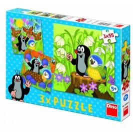 Dino Krteček a ptáček puzzle, 3x 55 dílků