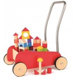 Woody Kovový vozík s dřevěnými kostkami - II. jakost