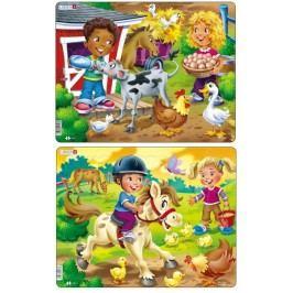 LARSEN Puzzle set Krmení a Jízda na koni