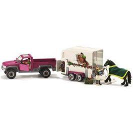 Schleich 42346 Pick–up s přívěsem a koněm