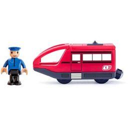 Woody Moderní elektrická mašinka - červená