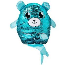 Flitrový medvídek s ocáskem - modrostříbrný velký