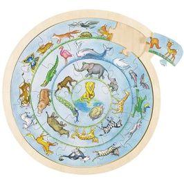 Goki kulaté puzzle na desce - zvířátka