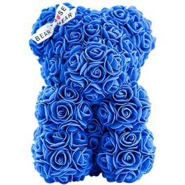 Rose Bear Modrý medvídek z růží 25 cm