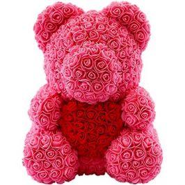 Rose Bear Růžový medvídek z růží s červeným srdcem 38 cm