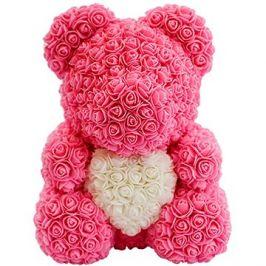 Rose Bear Růžový medvídek z růží s bílým srdcem 38 cm