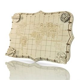 Wooden City World Map Words