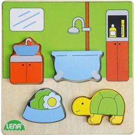 Dřevěné puzzle, koupelna