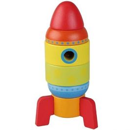 Dřevěná skládačka raketa 6 částí sun baby