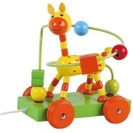 Dřevěná tahací žirafa s labyrintem sun baby