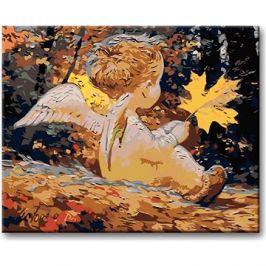 Malování podle čísel - Andílek s javorovým lístkem