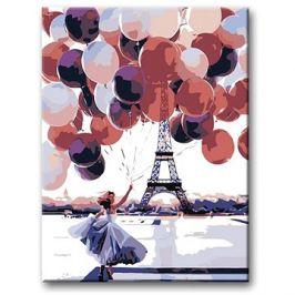 Malování podle čísel - Žena s mnoha balonky u Eiffelovky