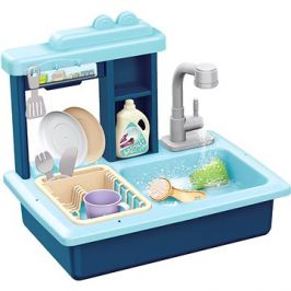 Teddies Dřez na mytí nádobí modrý + kohoutek na vodu s doplňky