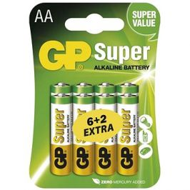 GP Super Alkaline LR6 (AA) 6+2ks v blistru