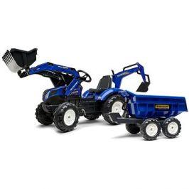 Traktor šlapací New Holland T modrý s přední i zadní lžící