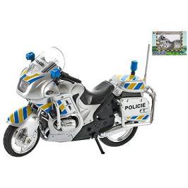 Motorka policejní 12cm kov na volný chod