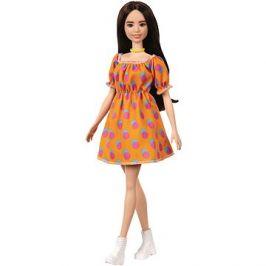 Barbie Modelka - Oranžové šaty s puntíky