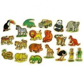 Dřevěné figurky - Magnetky z džungle 20ks