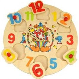 Dřevěné vkládací puzzle - Hodiny s klaunem
