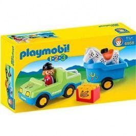Playmobil 1.2.3 6958 Auto s koňským přívěsem