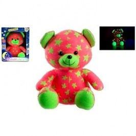 Teddies Medvídek svítící ve tmě růžovo-zelený