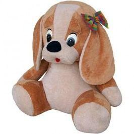 Pes s mašlí béžový 70cm
