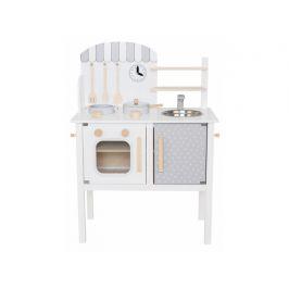 Jabadabado Dřevěná kuchyňka s hrncem a pánví bílá