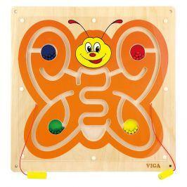 Alltoys Hra dřevěná na stěnu - labyrint s korálky