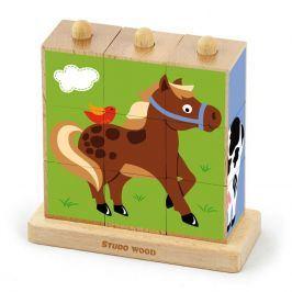 Studo Wood Kostky - zvířatka z farmy 9 ks