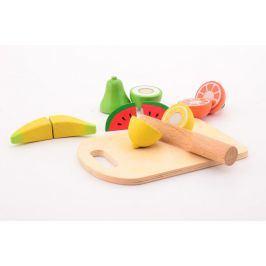 Dřevěné ovoce s prkénkem a nožem