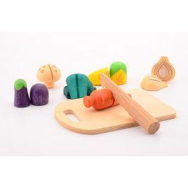 Johntoy Dřevěná zelenina s prkénkem a nožem
