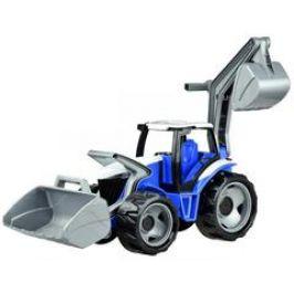 Traktor se lžící a bagren, modro šedý