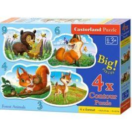 Puzzle CASTORLAND - Lesní zvířátka 4v1 mini