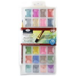 ROYAL and LANGNICKEL Akvarelové barvy perleťové, 28 ks + štětec
