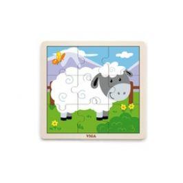 Viga Dřevěné puzzle 9 dílků - ovečka