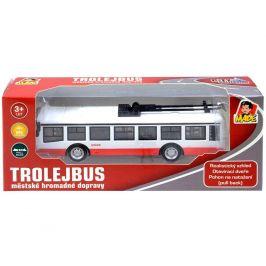 Made Trolejbus kovový na zpětný chod, se světlem a zvukem, 16cm