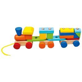 BINO Vláček s 2 vagóny dřevěný