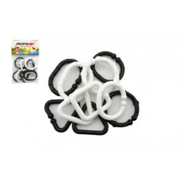 TEDDIES Plastové tvary černobílé řetěz 10 ks