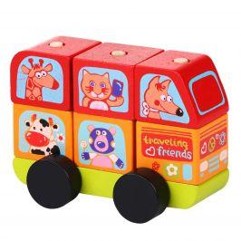WIKY Minibus šťastná zvířátka - dřevěná skládačka 7 dílů