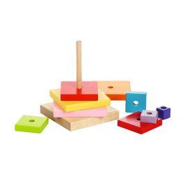 WIKY Barevná pyramida - dřevěná skládačka 9 dílů