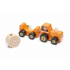 CUBIKA Traktor s vlekem - dřevěná skládačka s magnetem 3 díly
