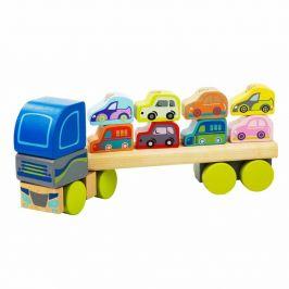 CUBIKA Kamion s auty - dřevěná skládačka 12 dílů